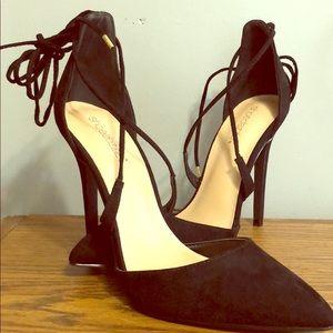 ShoeDazzle Black Suede Ankle Wrap Heels